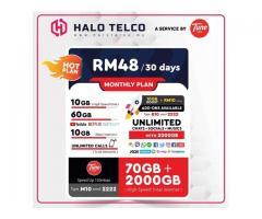 HaloTelco 2070GB Data + Unlimited Call RM48 Sebulan